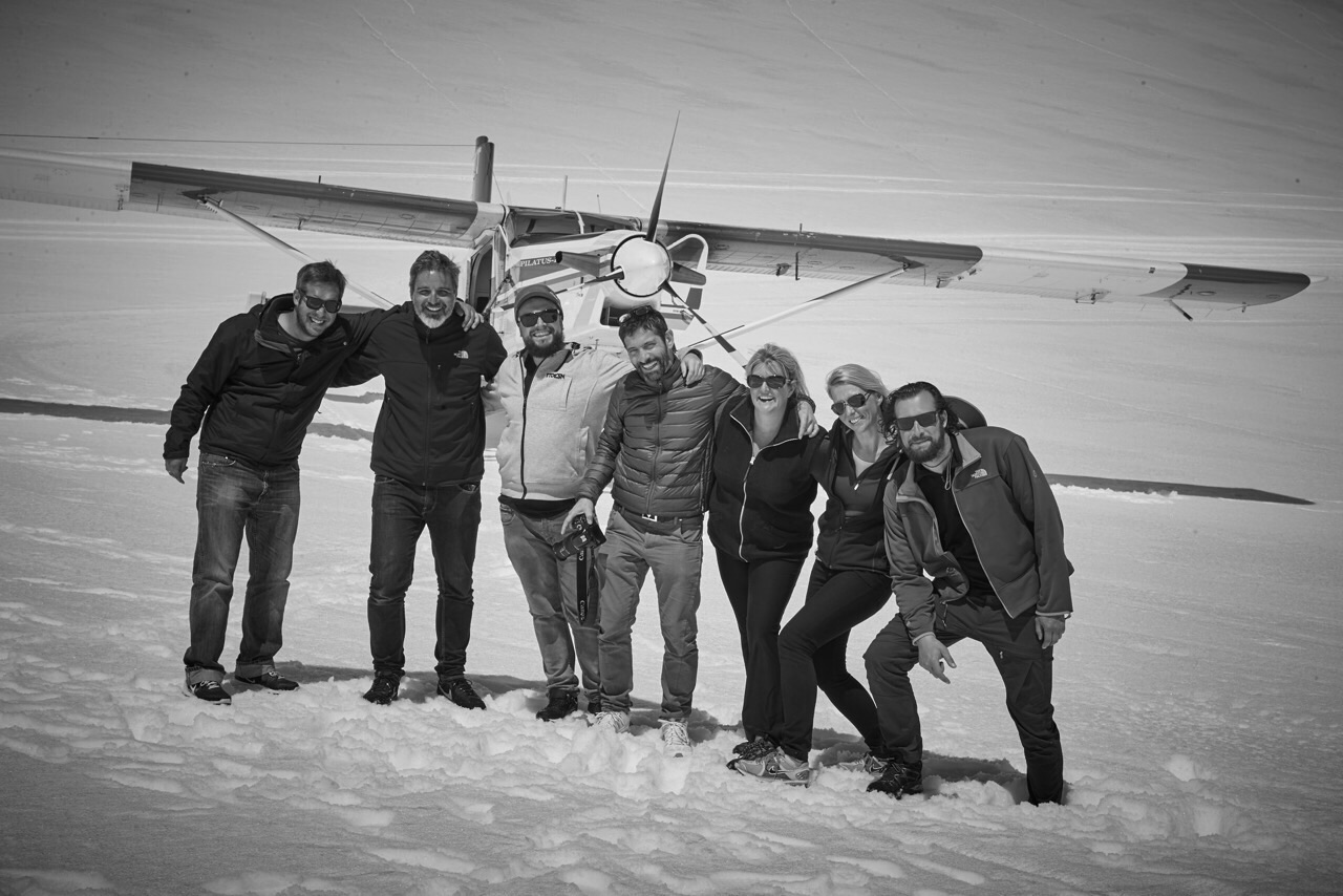Happy Porsche Crew on Tasman Glacier