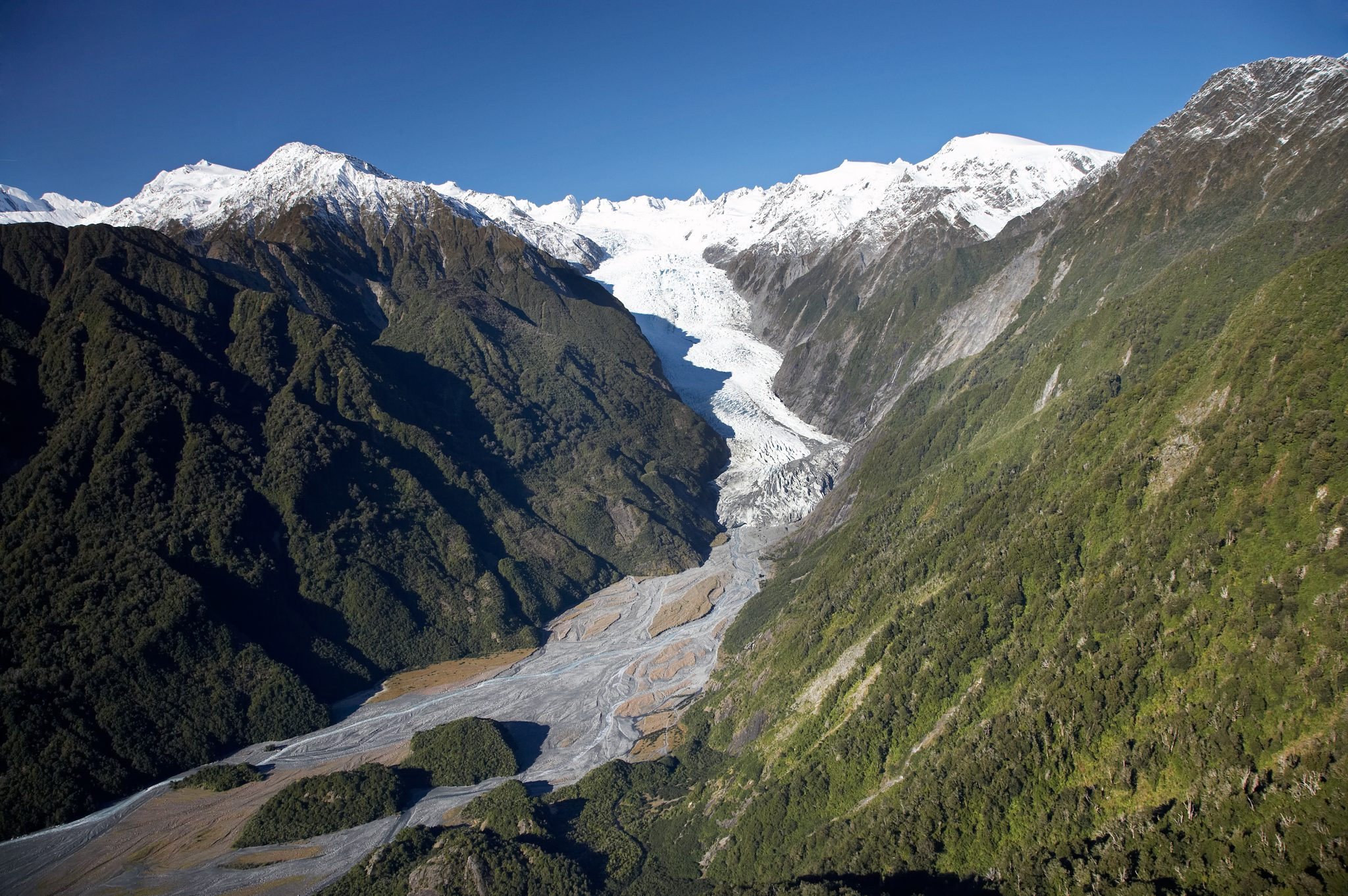 Franz Josef Glacier, West Coast, South Island, New Zealand - aerial